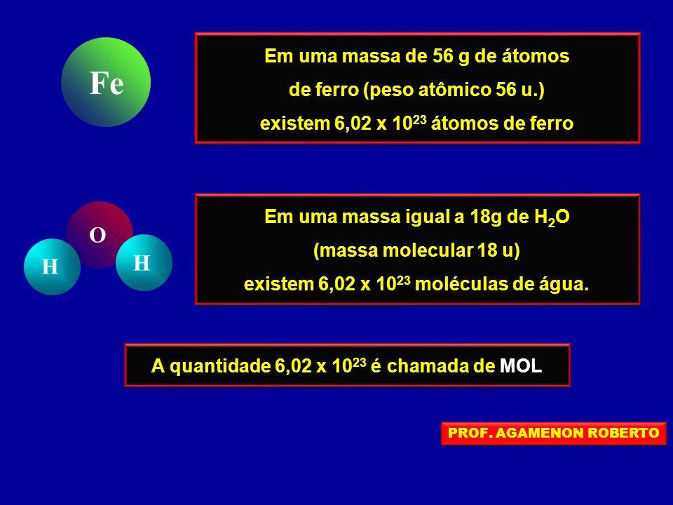 Fe O H Em uma massa de 56 g de átomos de ferro (peso atômico 56 u.)