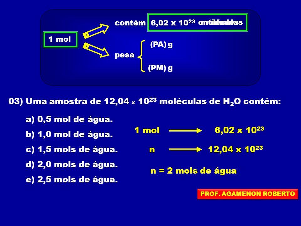 03) Uma amostra de 12,04 x 1023 moléculas de H2O contém:
