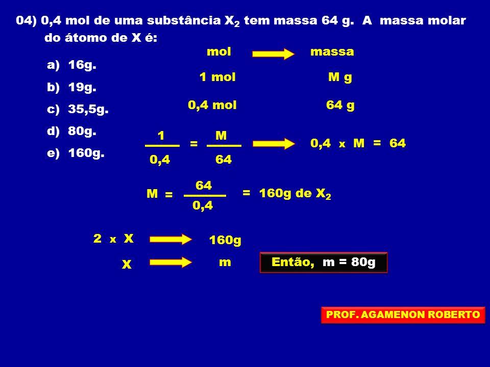 04) 0,4 mol de uma substância X2 tem massa 64 g. A massa molar