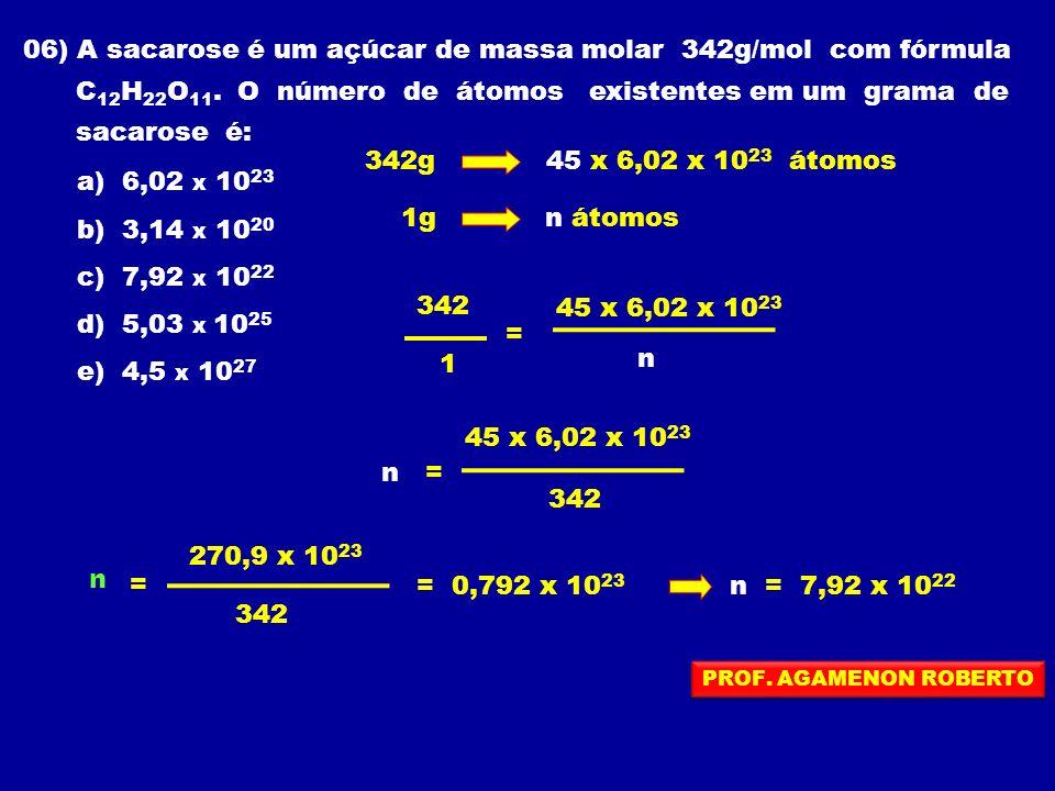06) A sacarose é um açúcar de massa molar 342g/mol com fórmula