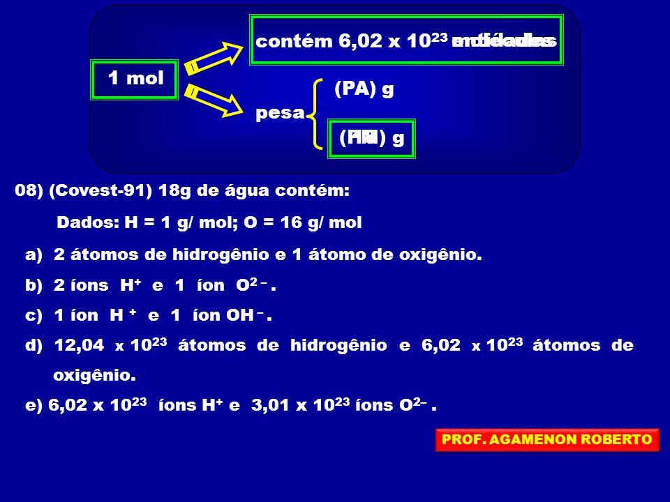 contém 6,02 x 1023 entidades moléculas 1 mol (PA) g pesa (PM) 18 g