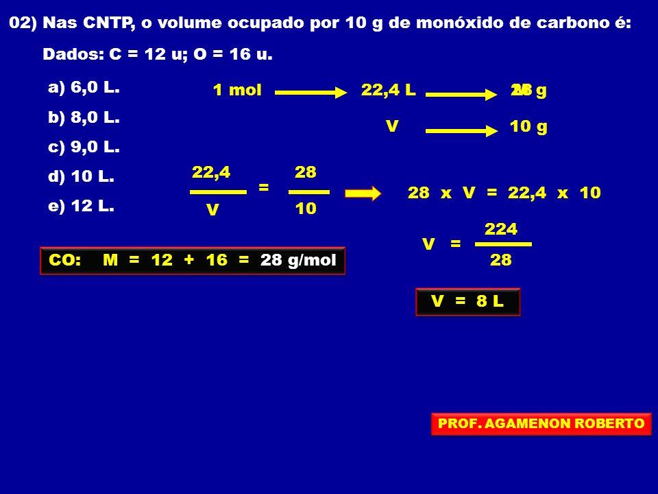 02) Nas CNTP, o volume ocupado por 10 g de monóxido de carbono é: