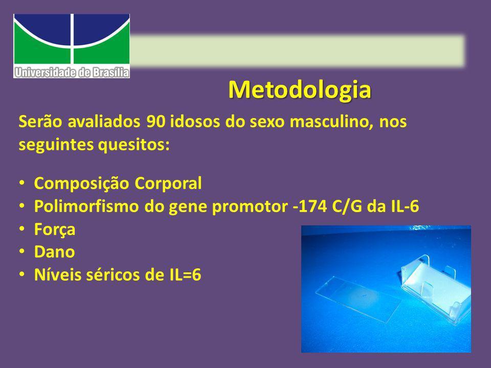 Metodologia Serão avaliados 90 idosos do sexo masculino, nos seguintes quesitos: Composição Corporal.