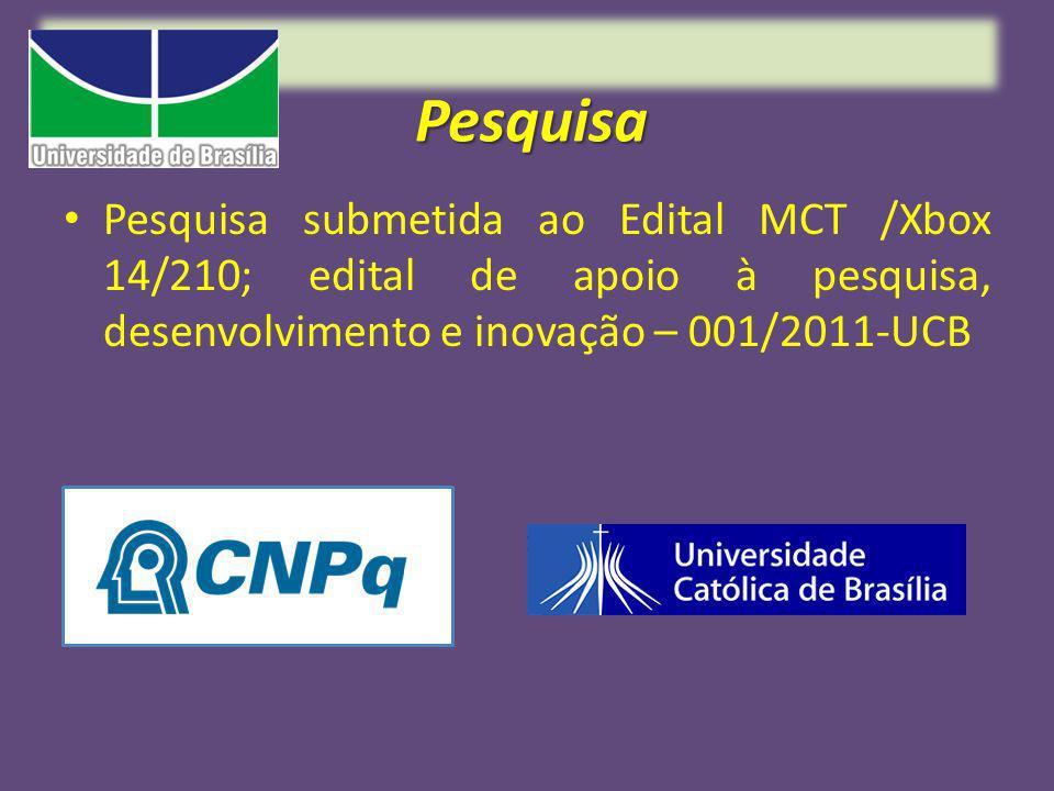 Pesquisa Pesquisa submetida ao Edital MCT /Xbox 14/210; edital de apoio à pesquisa, desenvolvimento e inovação – 001/2011-UCB.