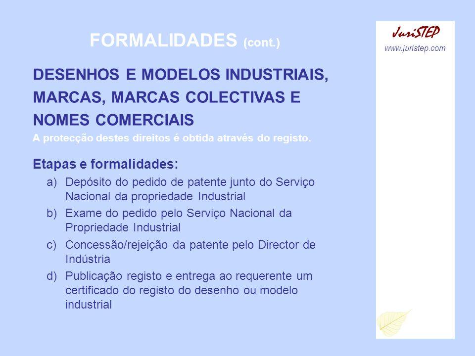 FORMALIDADES (cont.) JuriSTEP DESENHOS E MODELOS INDUSTRIAIS,