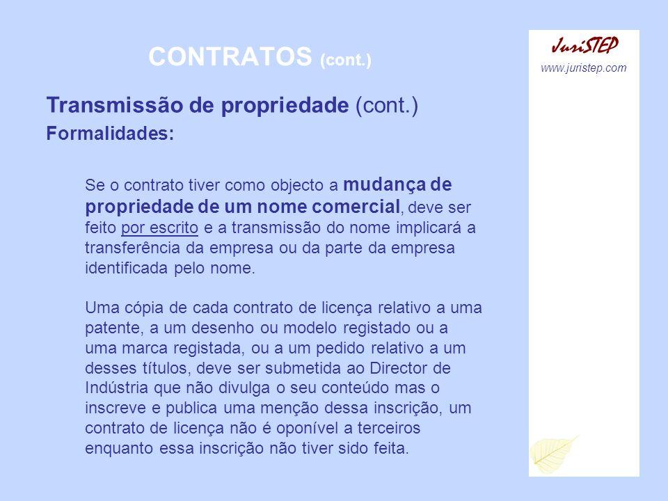 CONTRATOS (cont.) JuriSTEP Transmissão de propriedade (cont.)