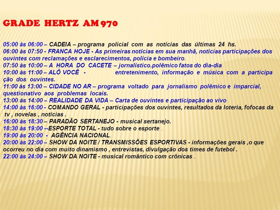 GRADE HERTZ AM 970 05:00 às 06:00 – CADEIA – programa policial com as notícias das últimas 24 hs.