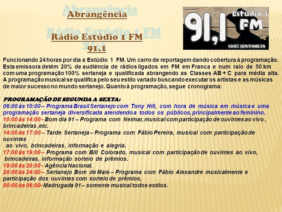 Abrangência Rádio Estúdio 1 FM 91,1