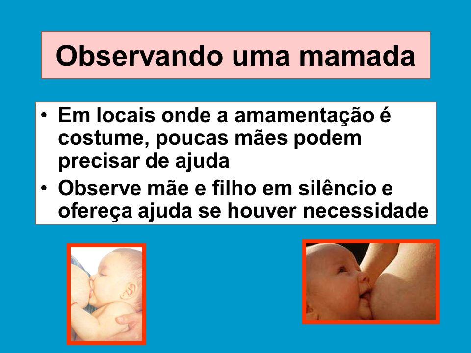 Observando uma mamada Em locais onde a amamentação é costume, poucas mães podem precisar de ajuda.