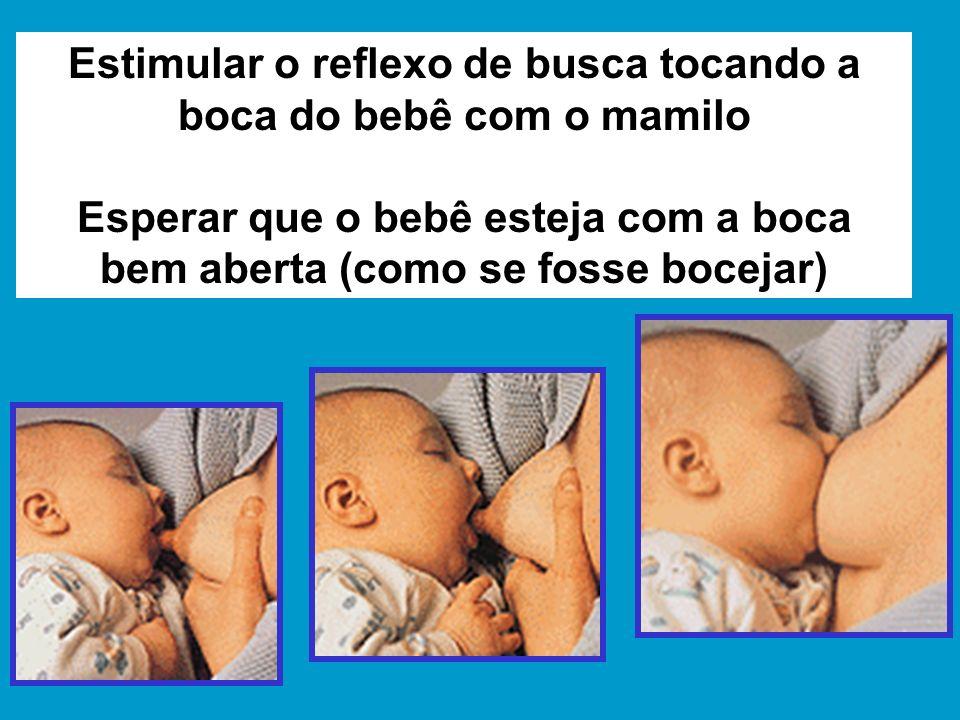 Estimular o reflexo de busca tocando a boca do bebê com o mamilo