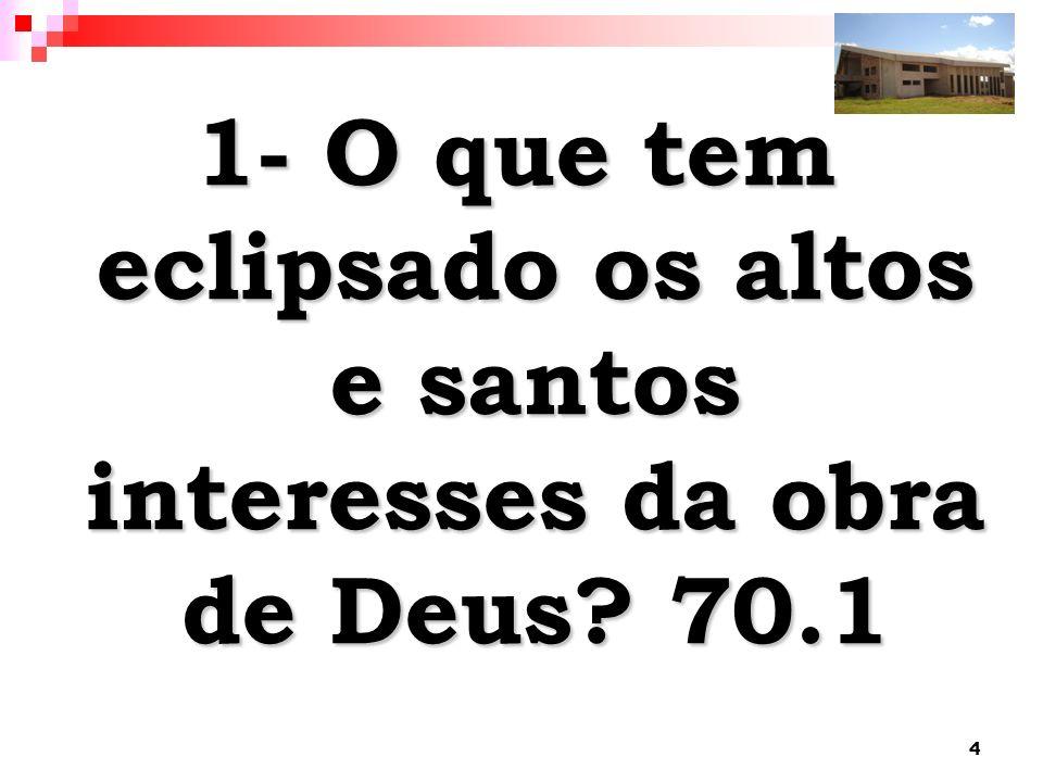 1- O que tem eclipsado os altos e santos interesses da obra de Deus 70.1