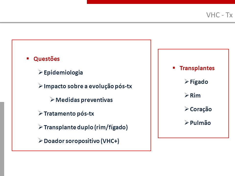 VHC - Tx Questões Epidemiologia Transplantes