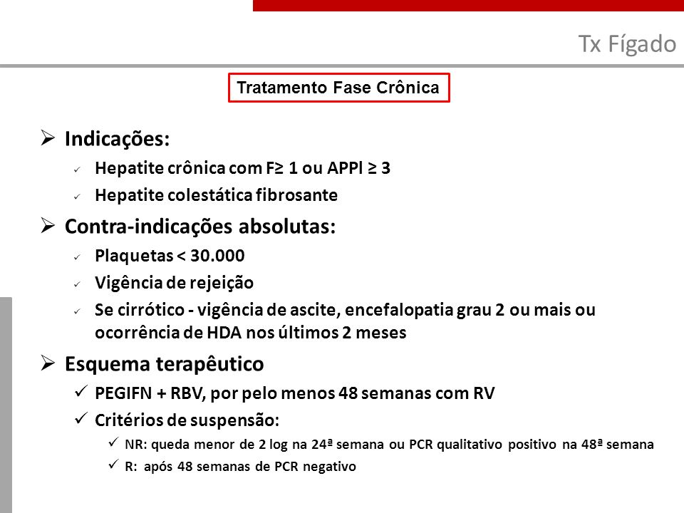 Tx Fígado Indicações: Contra-indicações absolutas: Esquema terapêutico