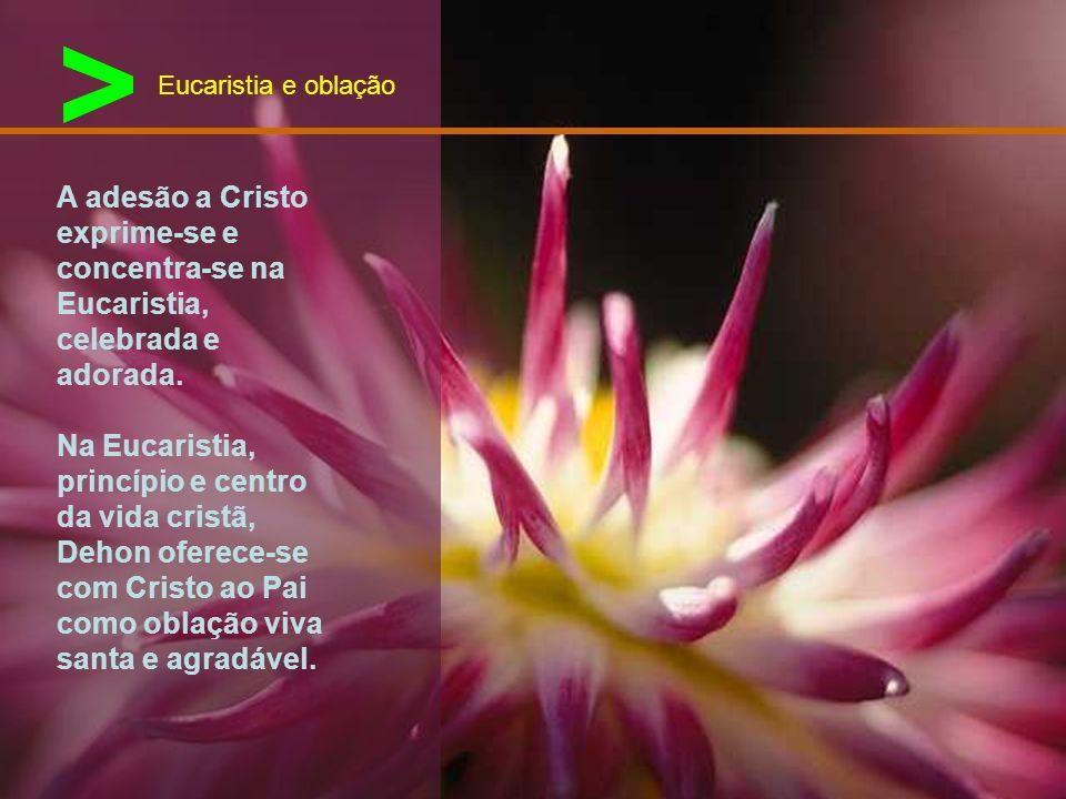> Eucaristia e oblação. A adesão a Cristo exprime-se e concentra-se na Eucaristia, celebrada e adorada.