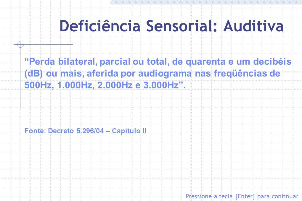 Deficiência Sensorial: Auditiva