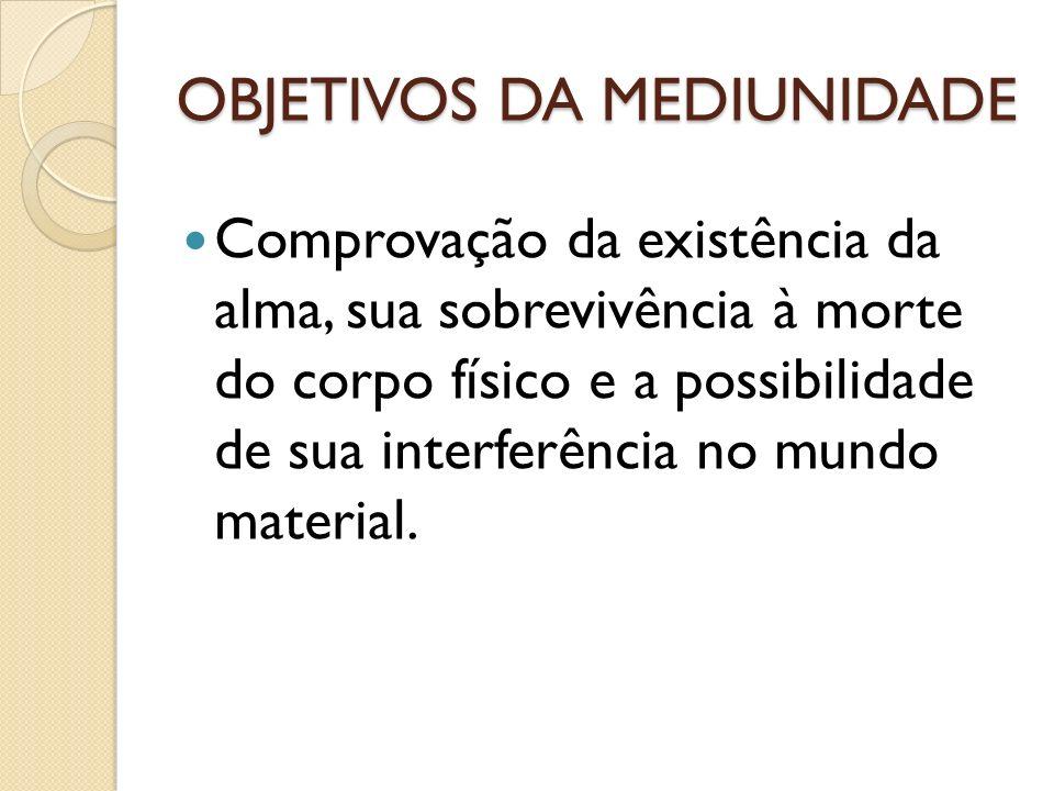 OBJETIVOS DA MEDIUNIDADE