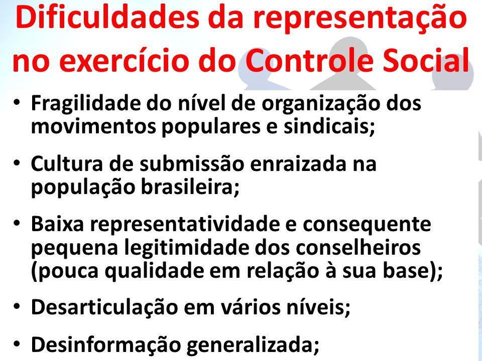 Dificuldades da representação no exercício do Controle Social