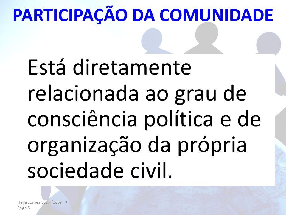 PARTICIPAÇÃO DA COMUNIDADE