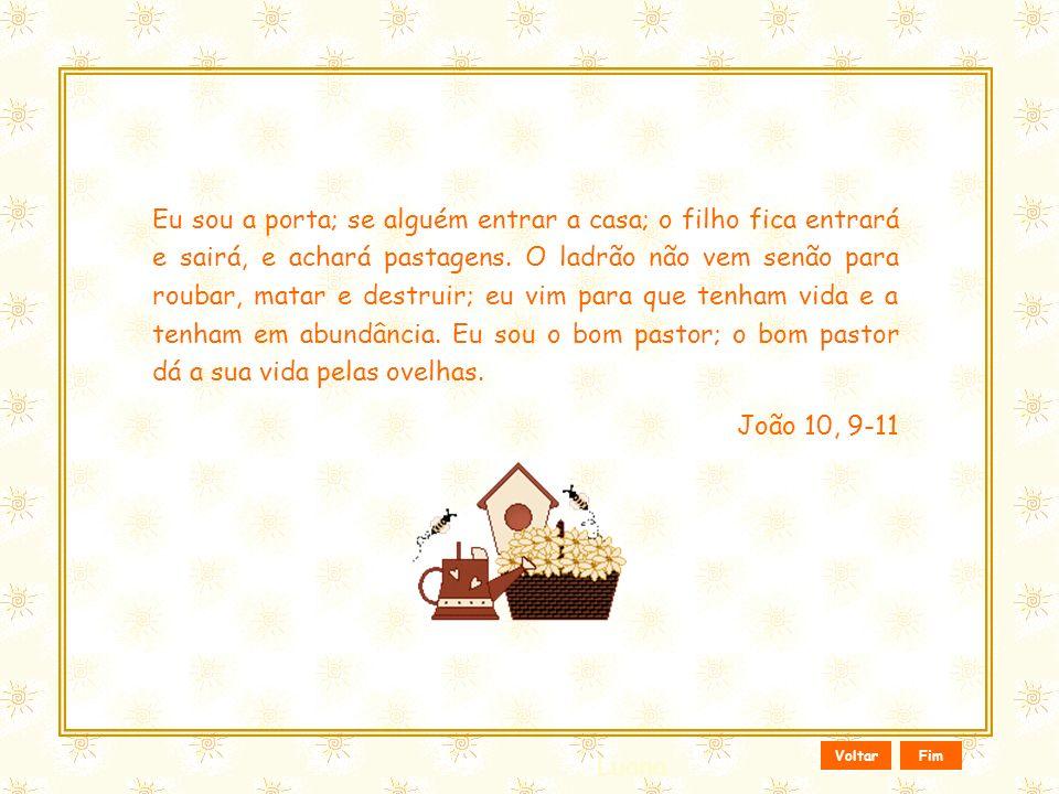 Eu sou a porta; se alguém entrar a casa; o filho fica entrará e sairá, e achará pastagens. O ladrão não vem senão para roubar, matar e destruir; eu vim para que tenham vida e a tenham em abundância. Eu sou o bom pastor; o bom pastor dá a sua vida pelas ovelhas.