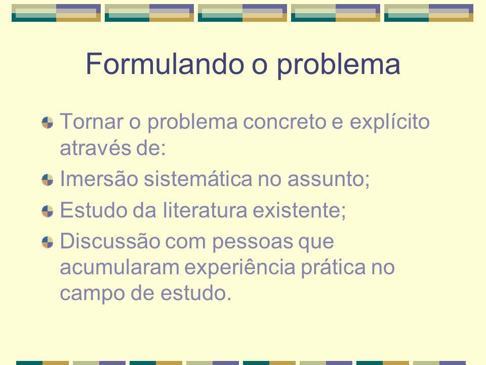 Formulando o problema Tornar o problema concreto e explícito através de: Imersão sistemática no assunto;