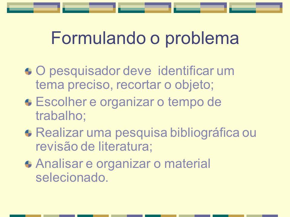 Formulando o problema O pesquisador deve identificar um tema preciso, recortar o objeto; Escolher e organizar o tempo de trabalho;