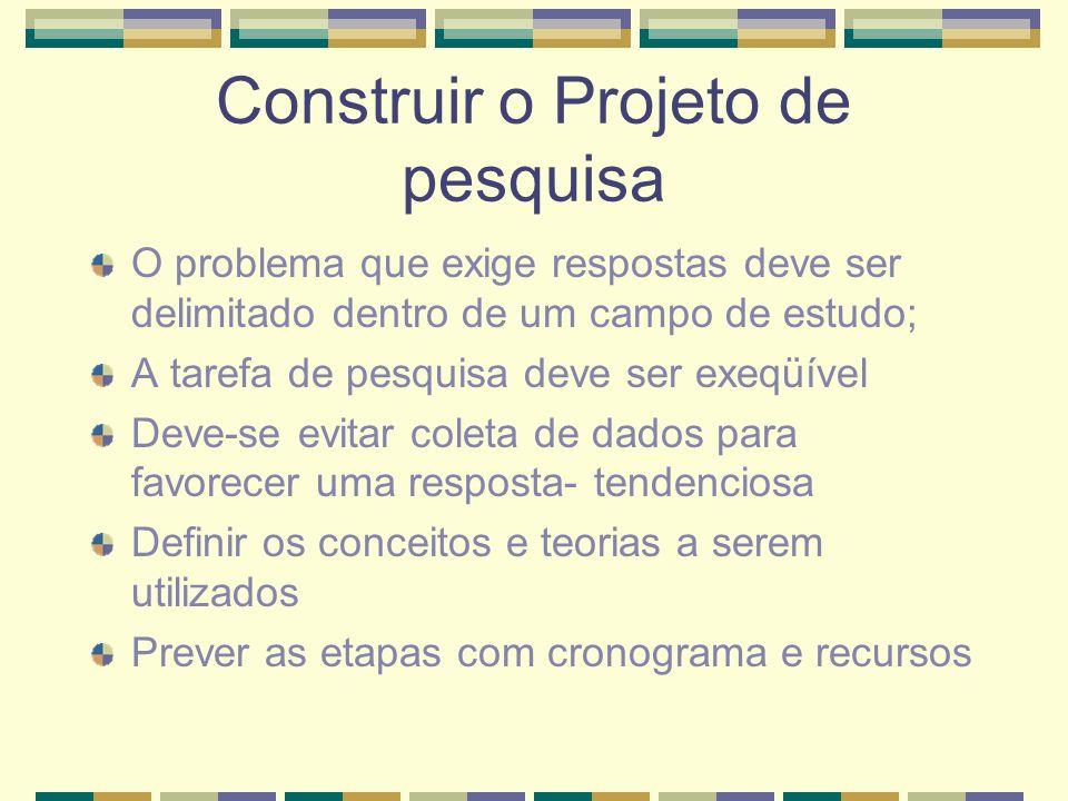 Construir o Projeto de pesquisa