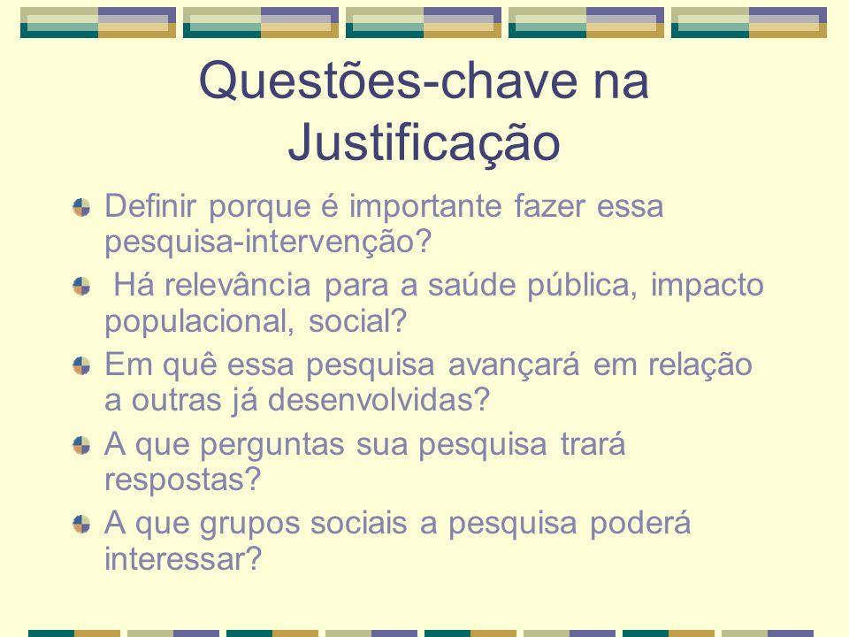 Questões-chave na Justificação