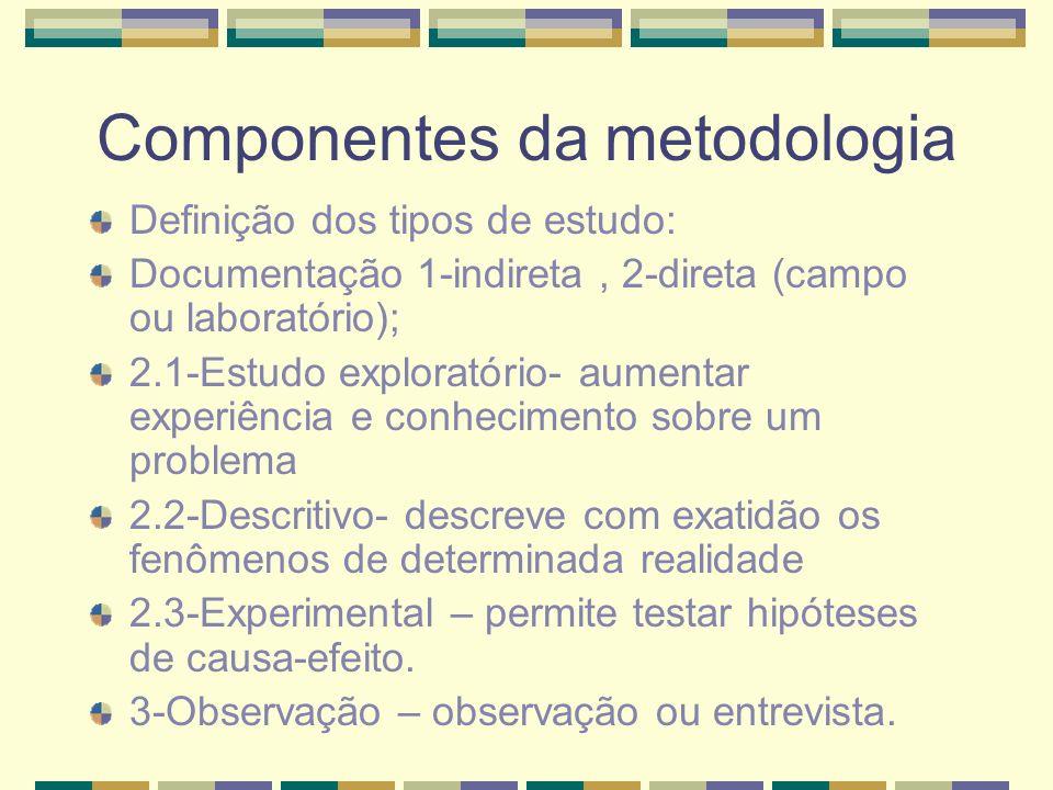 Componentes da metodologia
