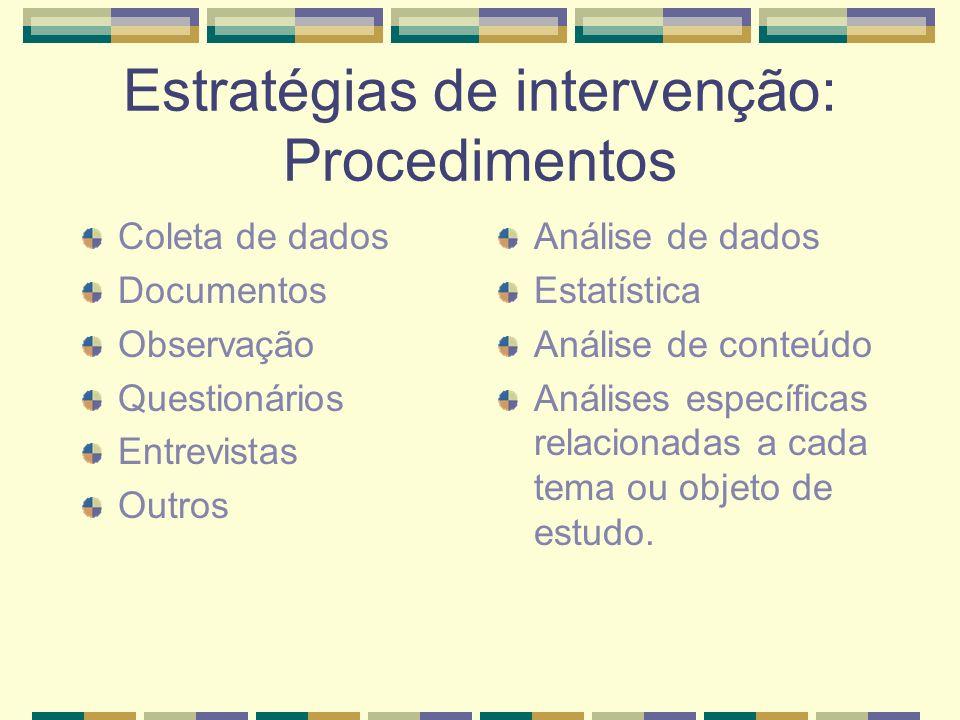 Estratégias de intervenção: Procedimentos