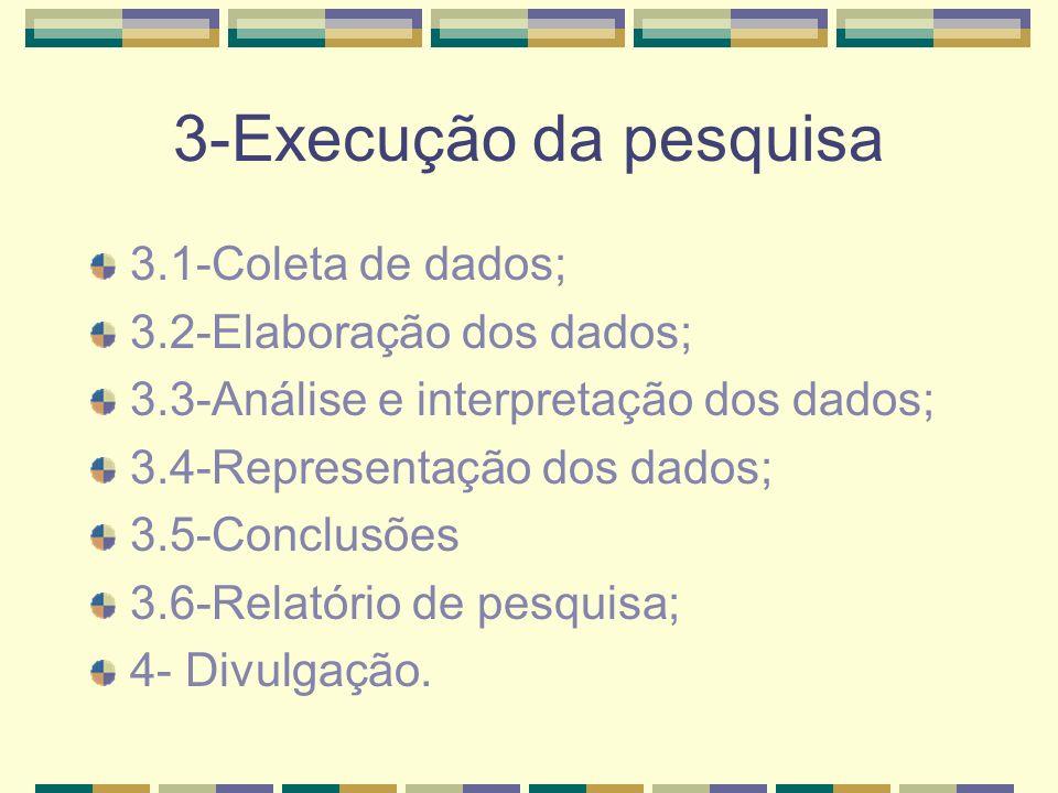 3-Execução da pesquisa 3.1-Coleta de dados; 3.2-Elaboração dos dados;