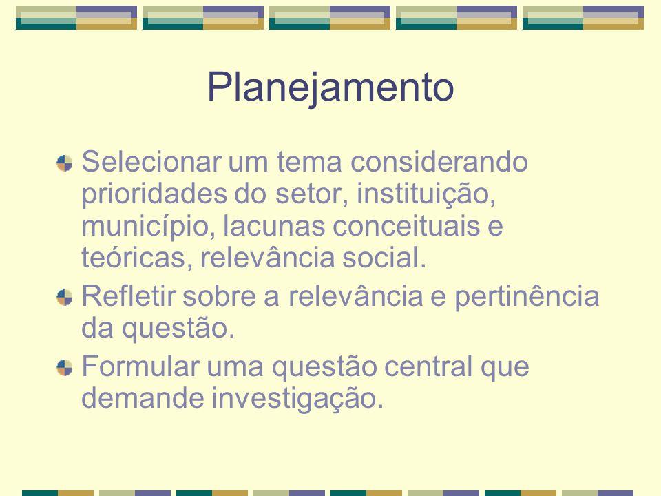 Planejamento Selecionar um tema considerando prioridades do setor, instituição, município, lacunas conceituais e teóricas, relevância social.