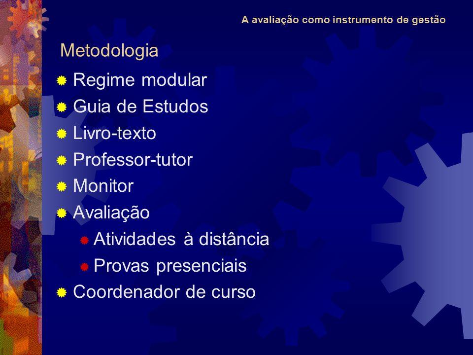 Metodologia Regime modular. Guia de Estudos. Livro-texto. Professor-tutor. Monitor. Avaliação.