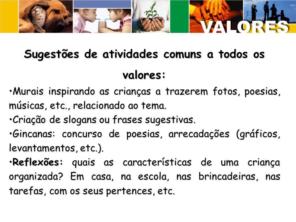 Sugestões de atividades comuns a todos os valores: