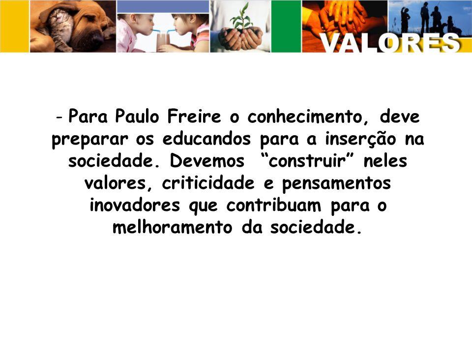 Para Paulo Freire o conhecimento, deve preparar os educandos para a inserção na sociedade.