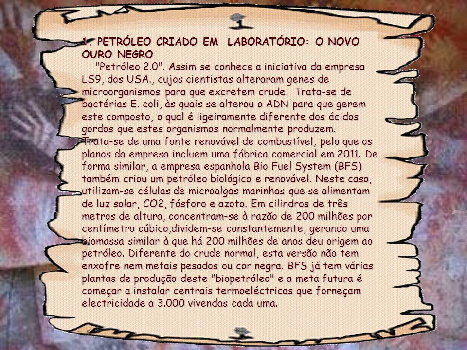 1. PETRÓLEO CRIADO EM LABORATÓRIO: O NOVO OURO NEGRO Petróleo 2. 0