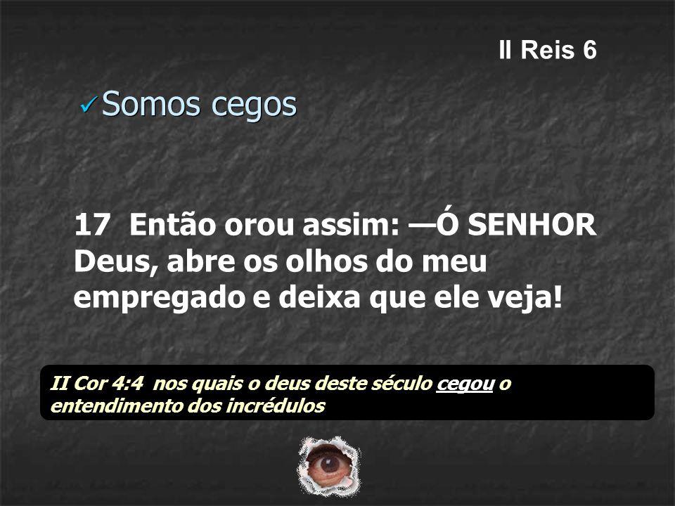 II Reis 6 Somos cegos. 17 Então orou assim: —Ó SENHOR Deus, abre os olhos do meu empregado e deixa que ele veja!