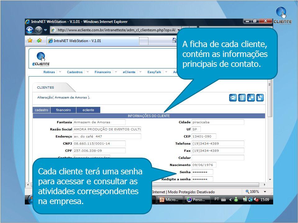 A ficha de cada cliente, contém as informações principais de contato.