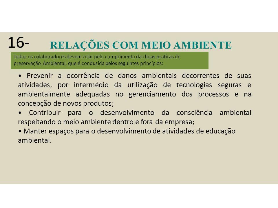 RELAÇÕES COM MEIO AMBIENTE COMUNIDADE