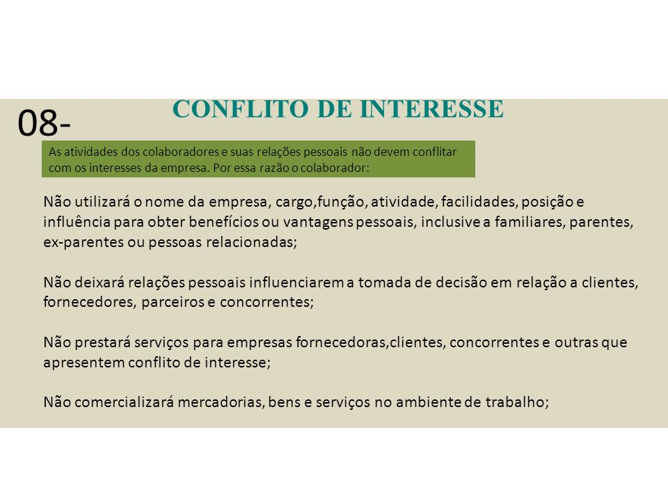 08- CONFLITO DE INTERESSE