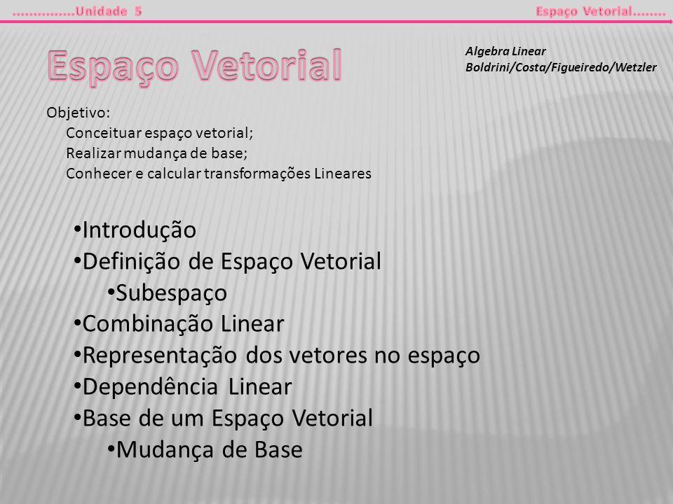 Espaço Vetorial Introdução Definição de Espaço Vetorial Subespaço