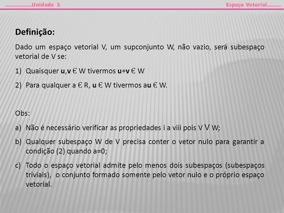 Definição: Dado um espaço vetorial V, um supconjunto W, não vazio, será subespaço vetorial de V se: