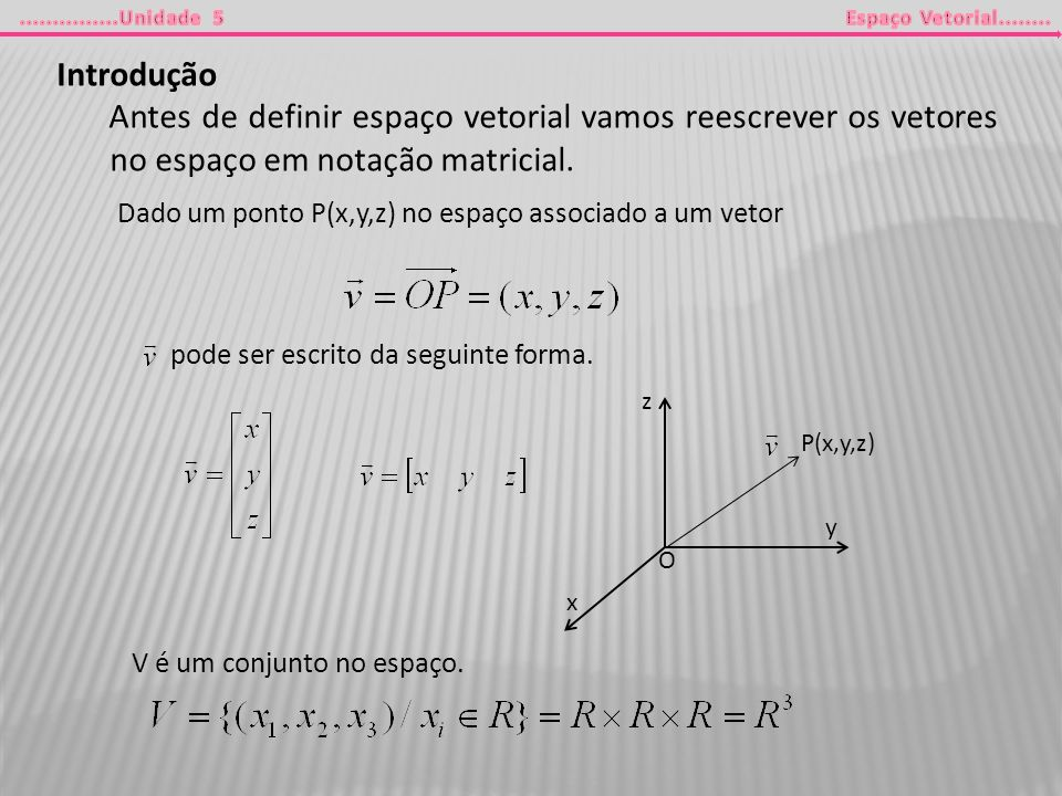 Introdução Antes de definir espaço vetorial vamos reescrever os vetores no espaço em notação matricial.