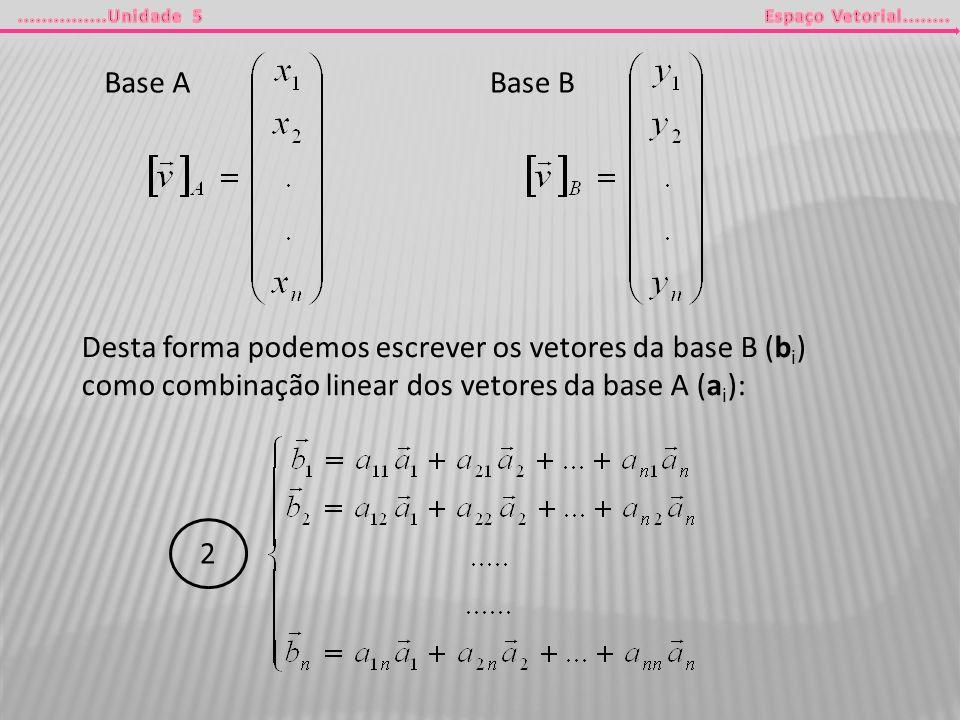 Base A Base B. Desta forma podemos escrever os vetores da base B (bi) como combinação linear dos vetores da base A (ai):