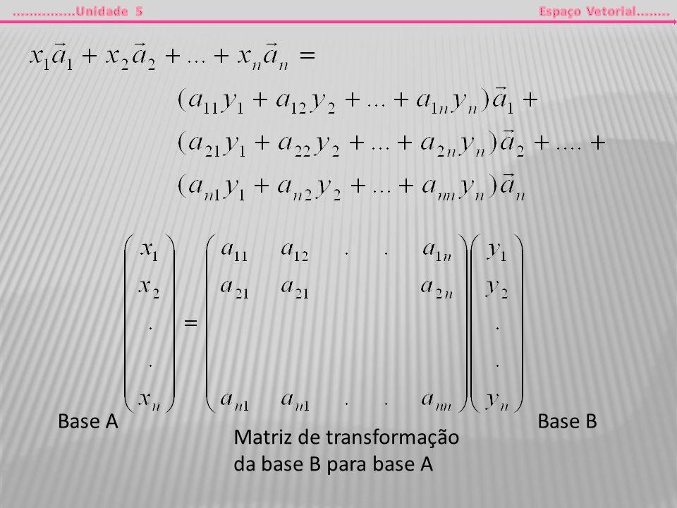 Base A Base B Matriz de transformação da base B para base A