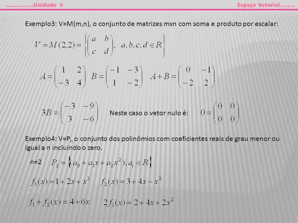 Exemplo3: V=M(m,n), o conjunto de matrizes mxn com soma e produto por escalar: