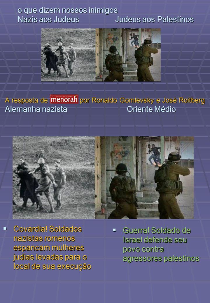 o que dizem nossos inimigos Nazis aos Judeus Judeus aos Palestinos