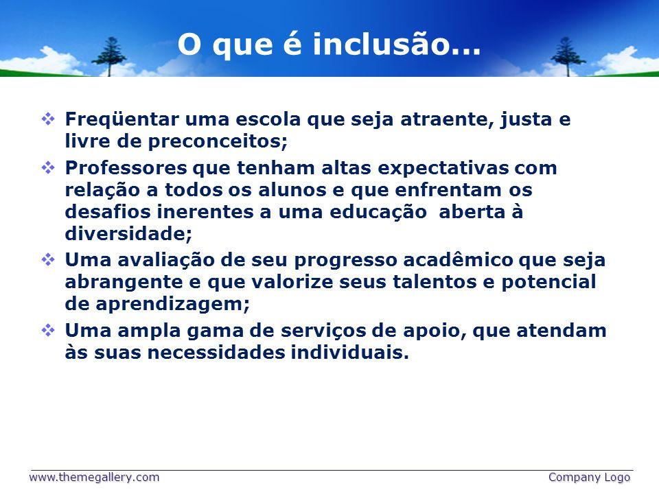 O que é inclusão... Freqüentar uma escola que seja atraente, justa e livre de preconceitos;