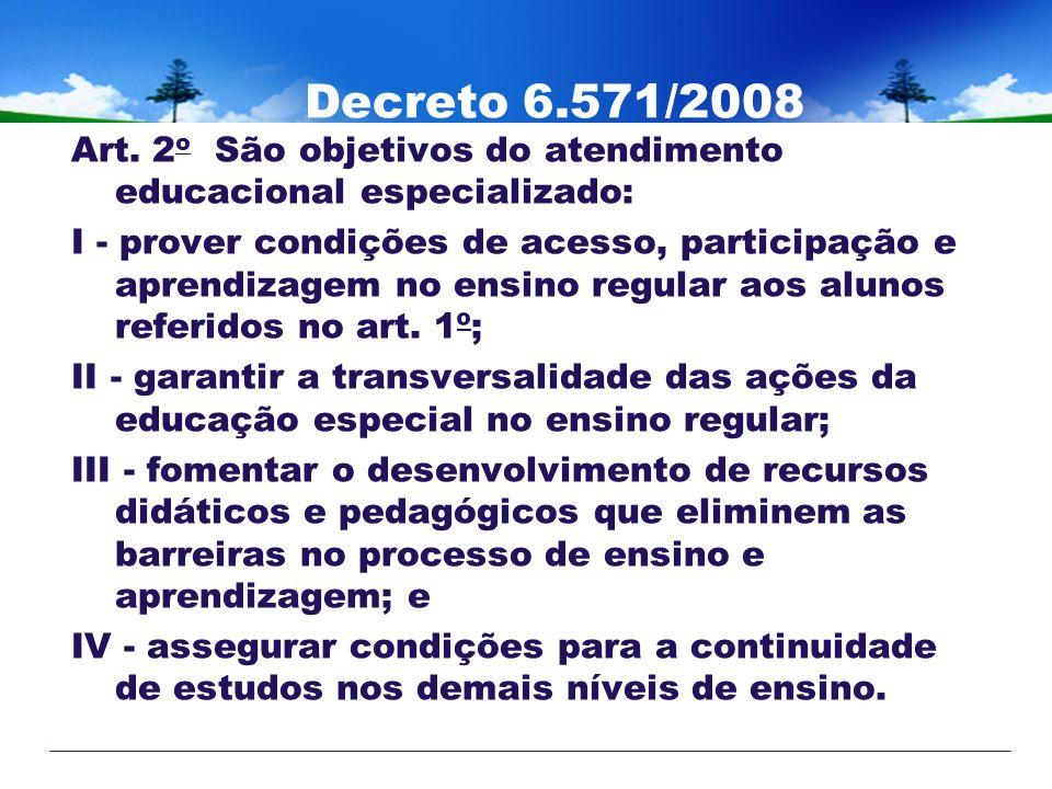 Decreto 6.571/2008 Art. 2o São objetivos do atendimento educacional especializado: