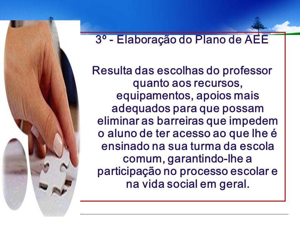 3º - Elaboração do Plano de AEE