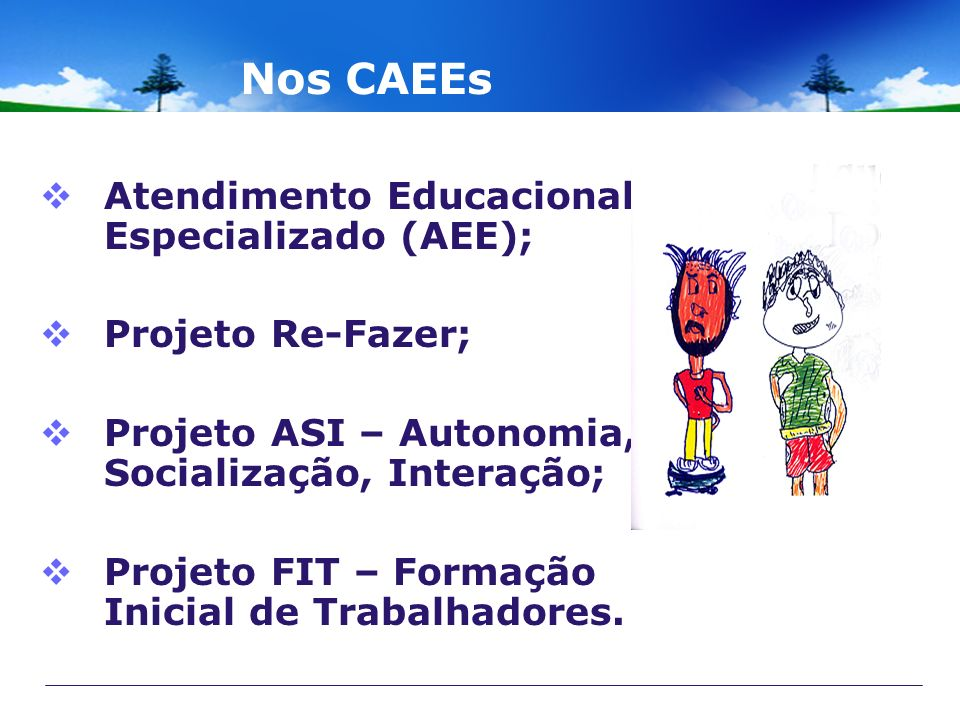 Nos CAEEs Atendimento Educacional Especializado (AEE);